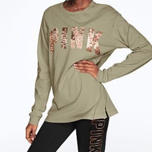 PINK | New! Bling Campus Long Sleeve